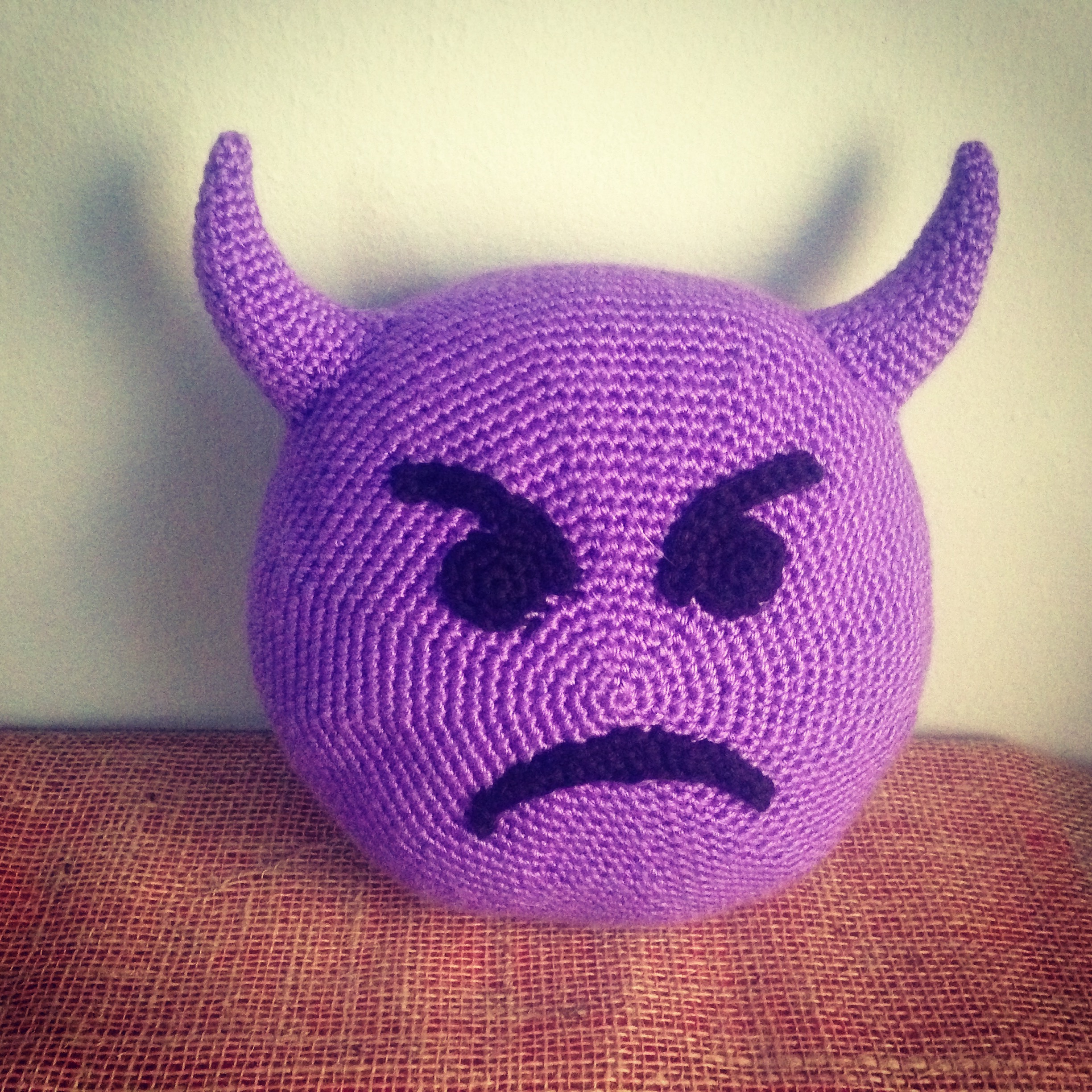 Crocheting Emoji : My husband won. (not completely, he wanted the poop emoji).
