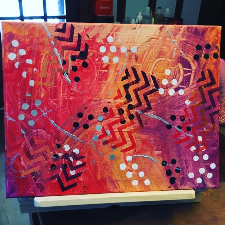 My abstract painting with red, yellow and purple