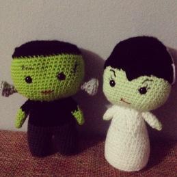 Crocheted Frankenstein and Bride of Frankenstein