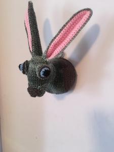 Crocheted taxidermy rabbit